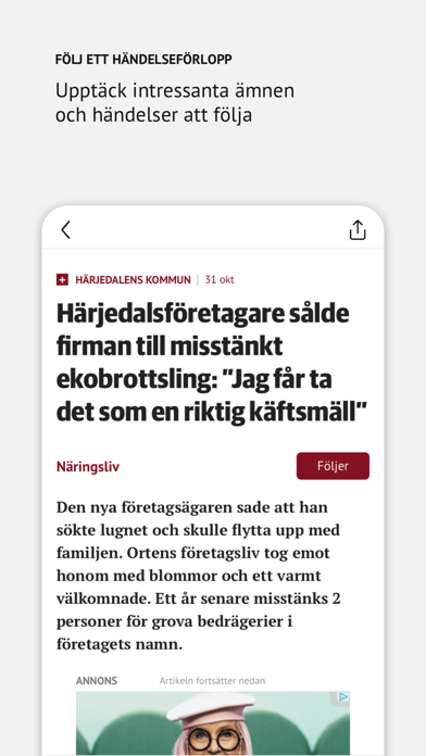 Tidningen Härjedalen Nyhetsapp på PC