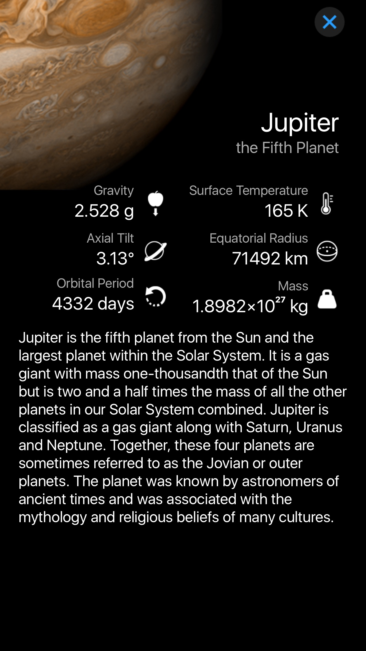 Screenshot do app Starlight: Mapa do Céu