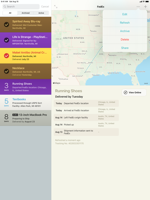 Deliveries: a package tracker Screenshots
