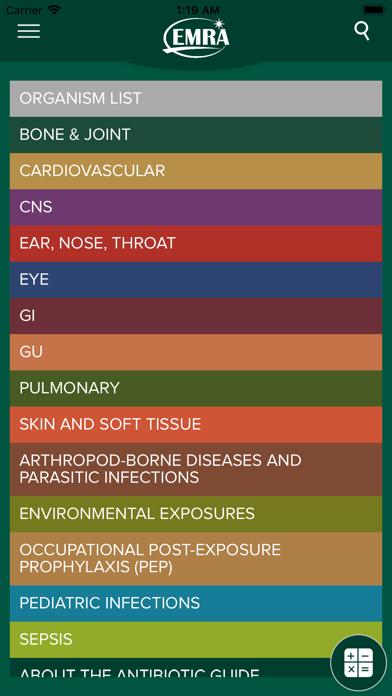 EMRA Antibiotic Guide Screenshot
