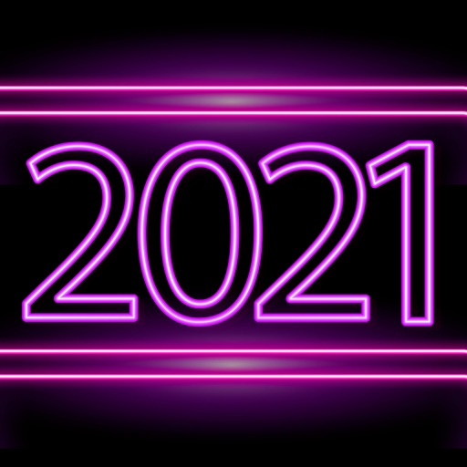 2021 Neon New Year Stickers