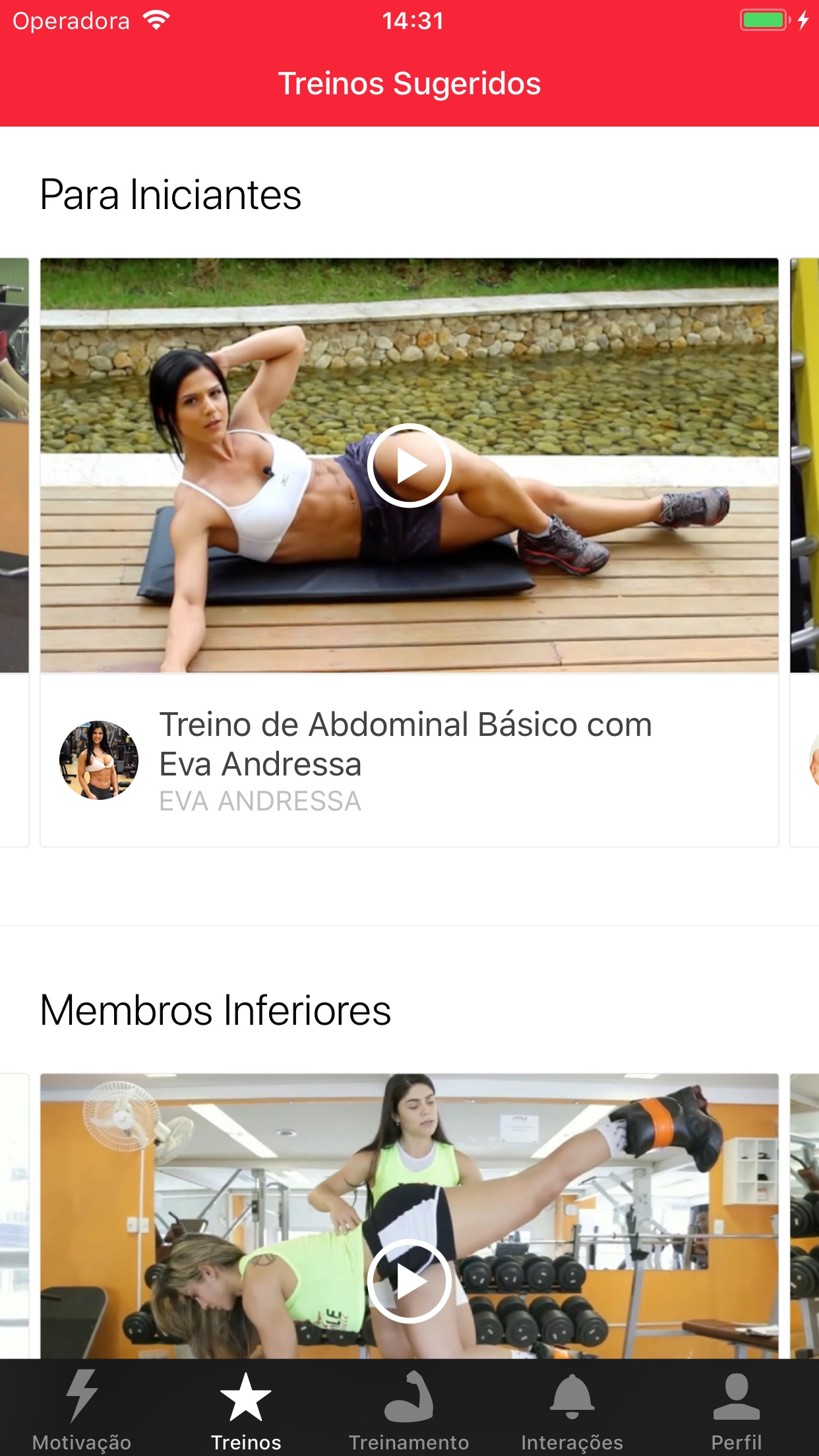 Screenshot do app MyTraining: Treino de Academia