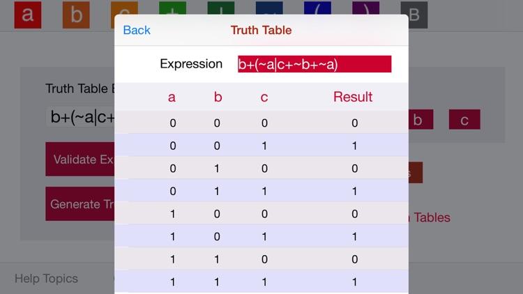 Logic Truth Tables screenshot-3