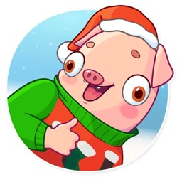 Christmas Piggy Funny Sticker