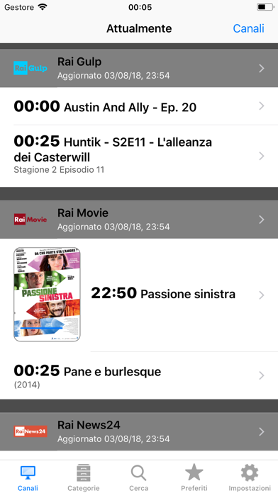 Italian TV Schedule Screenshots