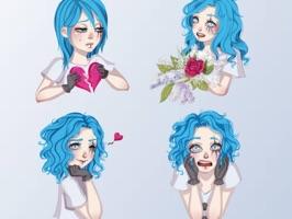 Blue Hair Girl Emojis
