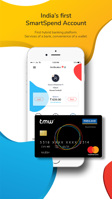 tmw - Wallet, Card, Recharge screenshot one