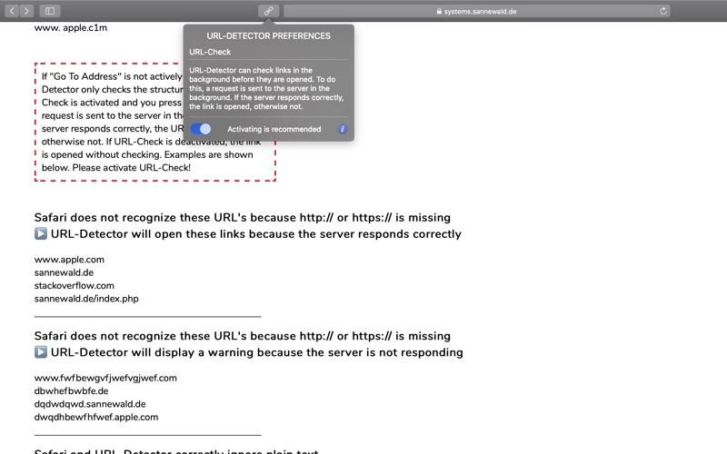 URL-Detector for Safari скриншот программы 3