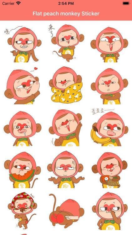 Flat peach monkey Sticker