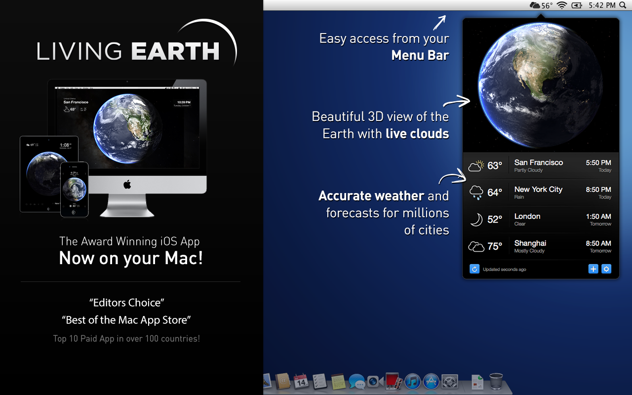 Living Earth Weather & Clock 1.26 Mac 破解版 Mac上绚丽的世界时间和天气软件
