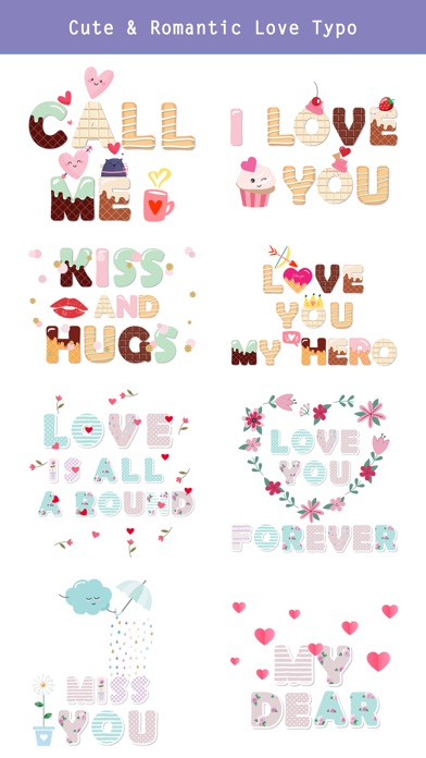 Cute Love Typography Lettering screenshot 3