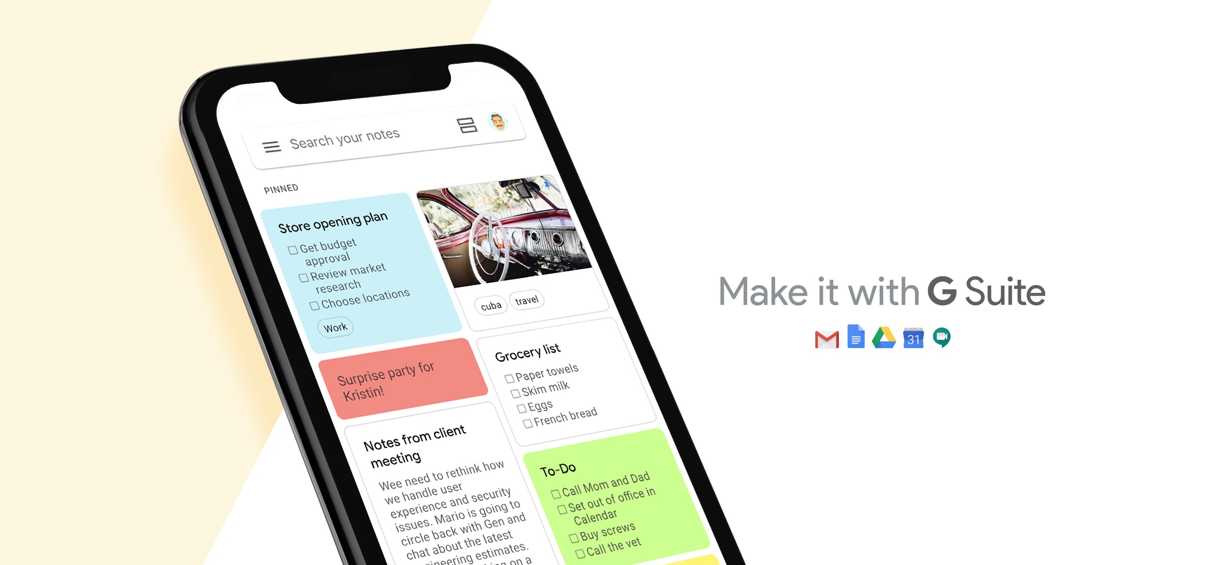 Screenshot do app Google Keep: notas e listas