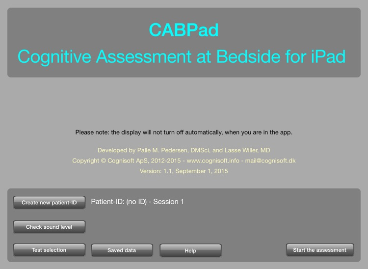 CABPad Neuropsychological Test