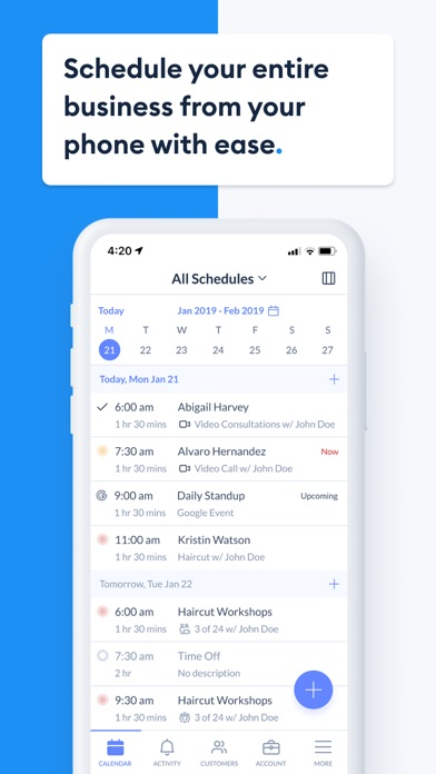 Setmore Appointment Scheduling Screenshot
