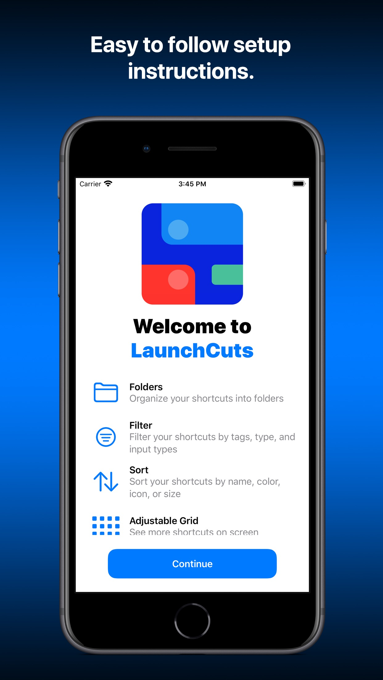 Screenshot do app LaunchCuts