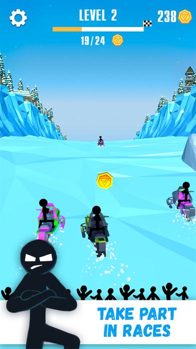 Snowmobile Stickman: Flip Race screenshot one