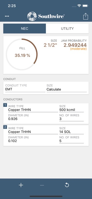 Southwire conduit fill calc on the app store screenshots greentooth Image collections
