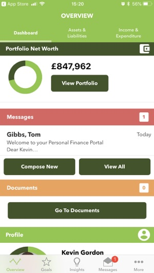 Personal Finance Dashboard iPhone t