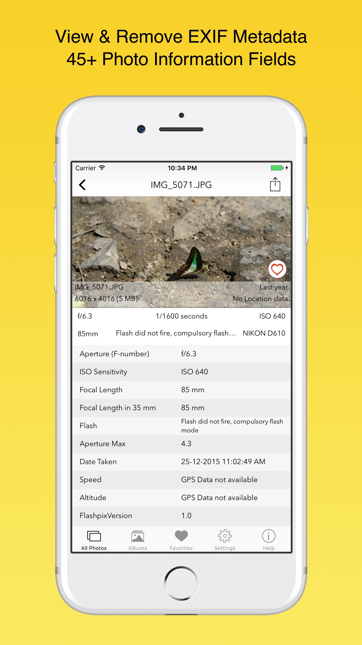 Screenshot do app EXIF Viewer by Fluntro
