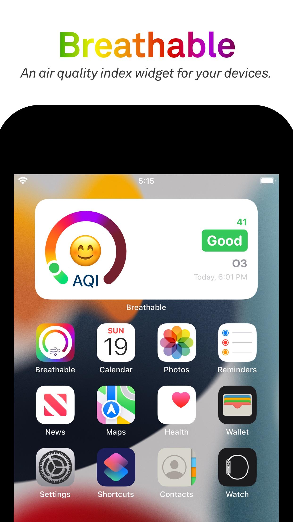 Screenshot do app Breathable Air Quality Widget