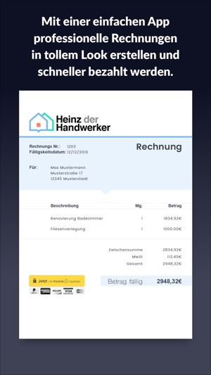 rechnung erstellen invoice 2go im app store. Black Bedroom Furniture Sets. Home Design Ideas
