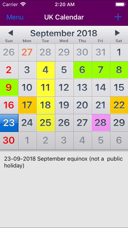 2019 UK Holiday Calendar