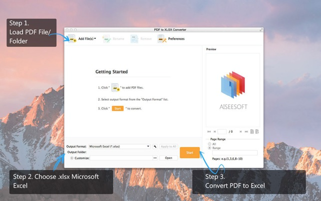 PDF to XLSX Converter - Aisee Screenshot