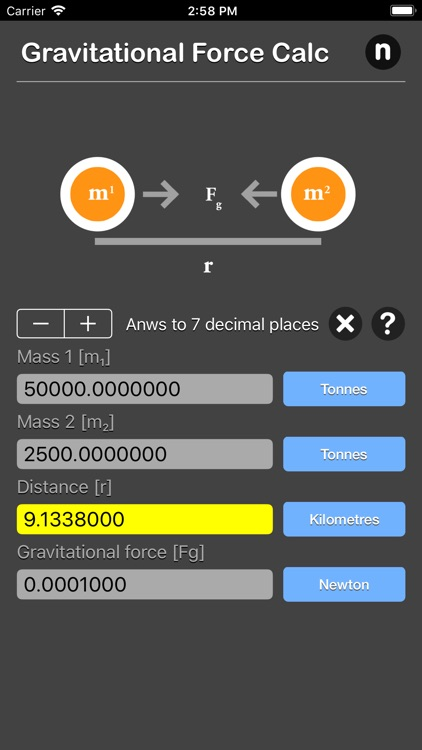 Gravitational Force Calculator screenshot-4