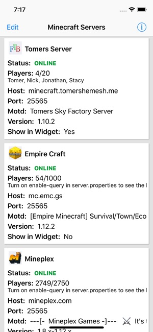 Server widget for Minecraft on the App Store