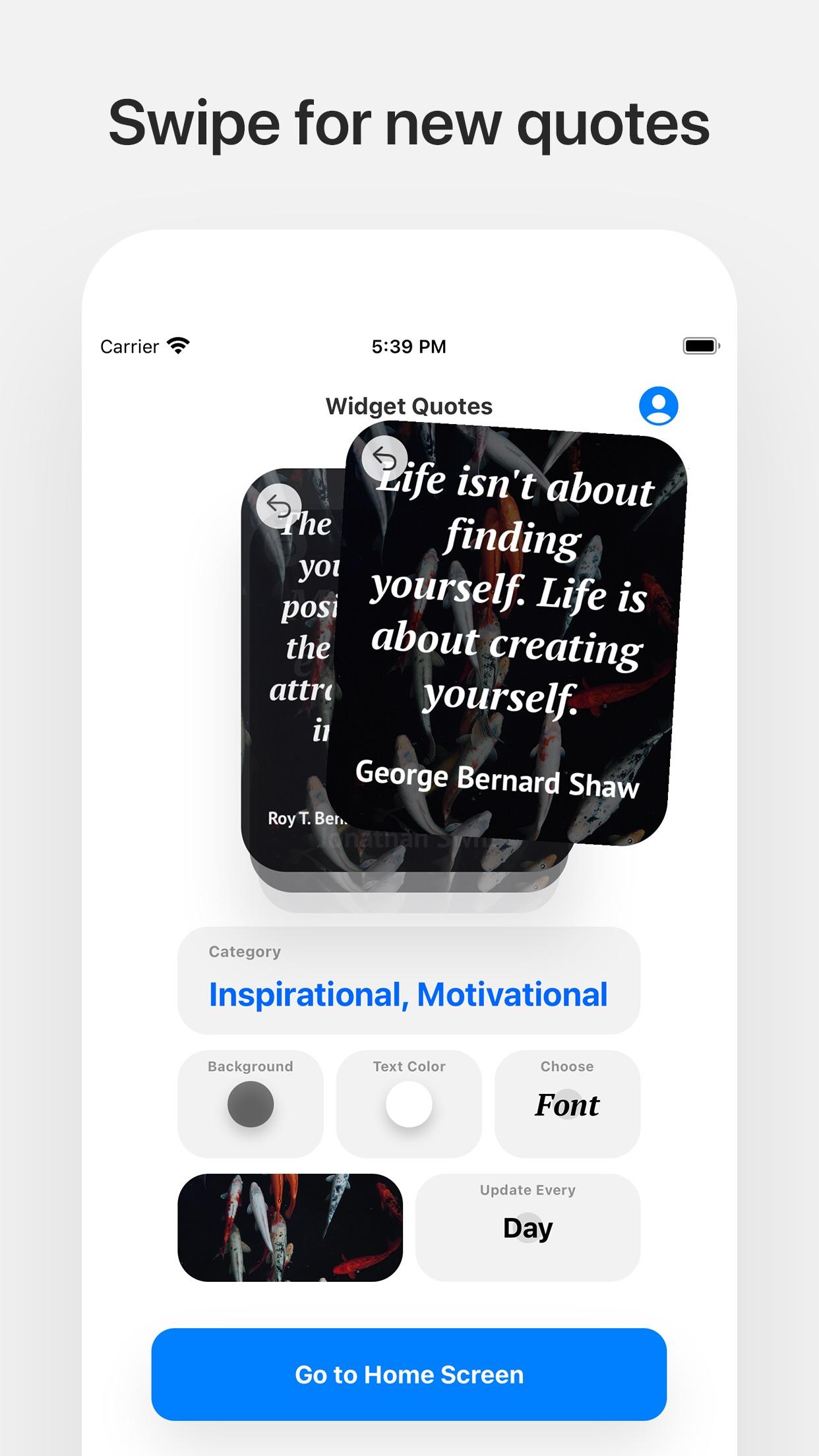 Screenshot do app Widget Quotes