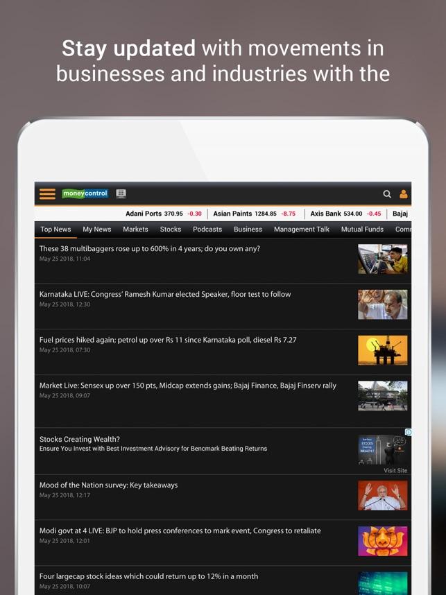 Moneycontrol Markets on iPad on the App Store
