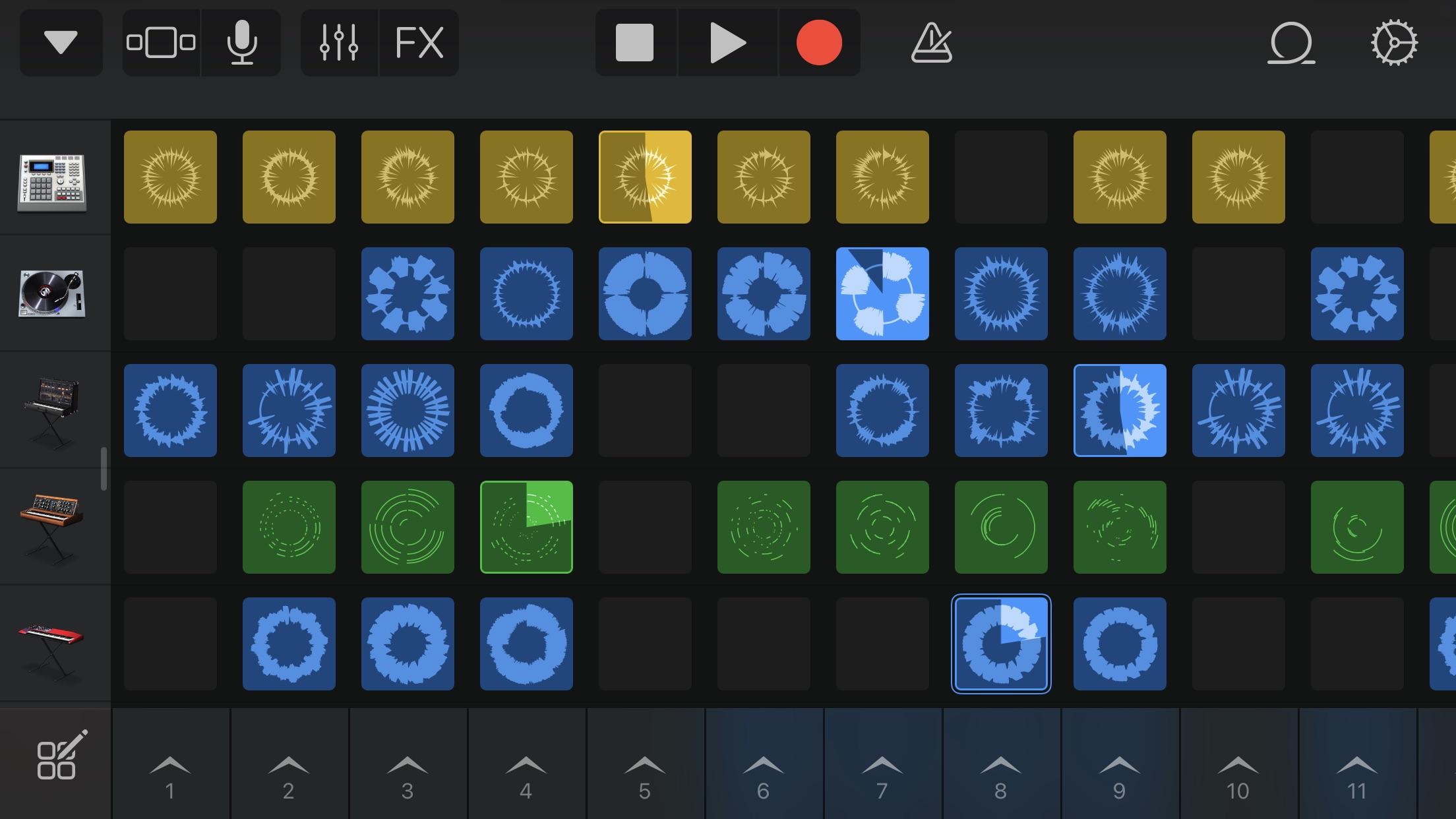 Screenshot do app GarageBand