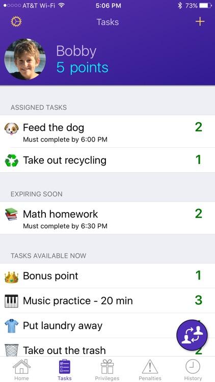 Privilege Points, Task, Chore, and Reward Tracker