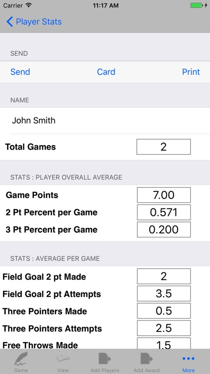 Basketball Player Game Stats Tracker