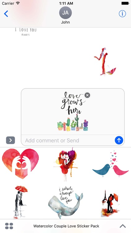 Watercolor Couple Love Sticker Pack