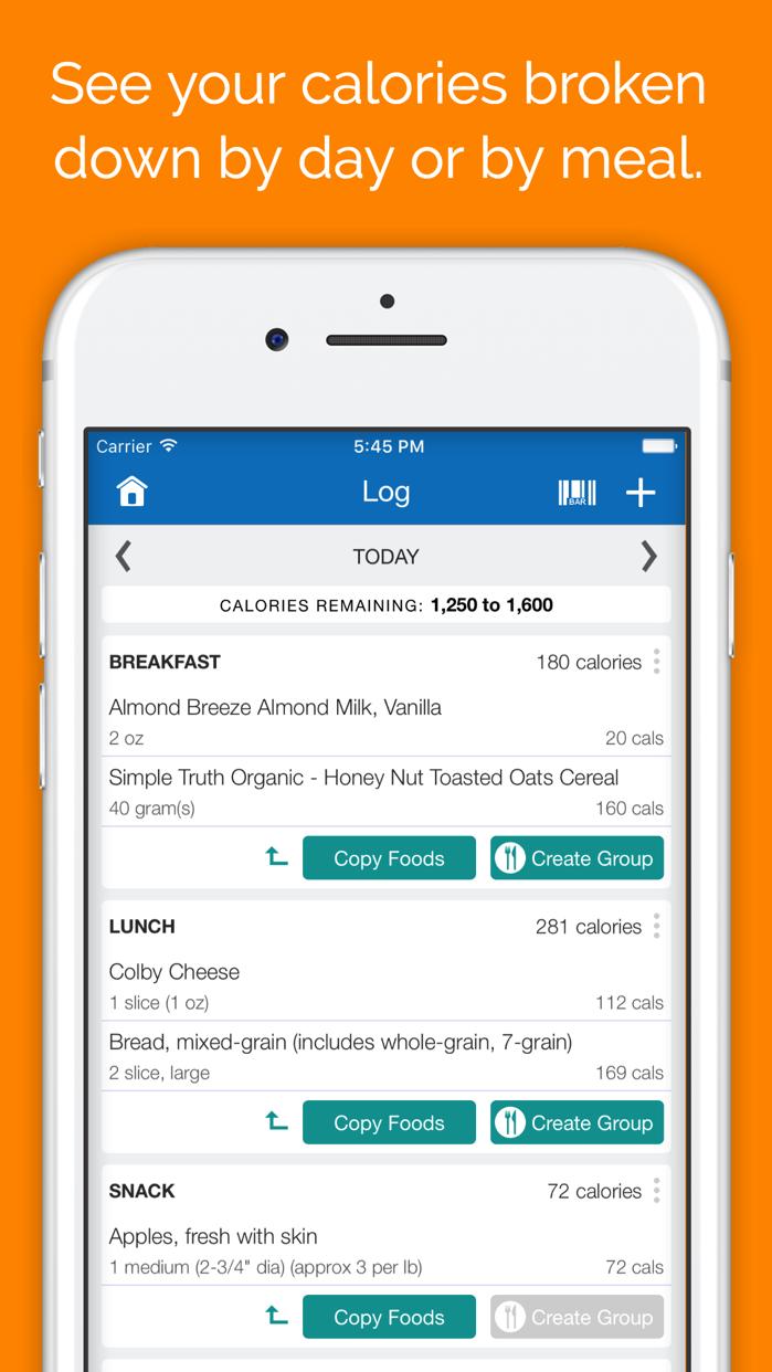 SparkPeople Calorie Tracker Screenshot
