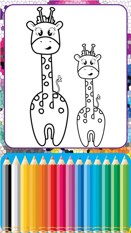 Giraffe Coloring Cute Wild Animals fun doodling