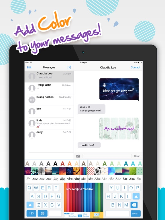 Color Text Messages+ Customize Keyboard Free Now-ipad-1