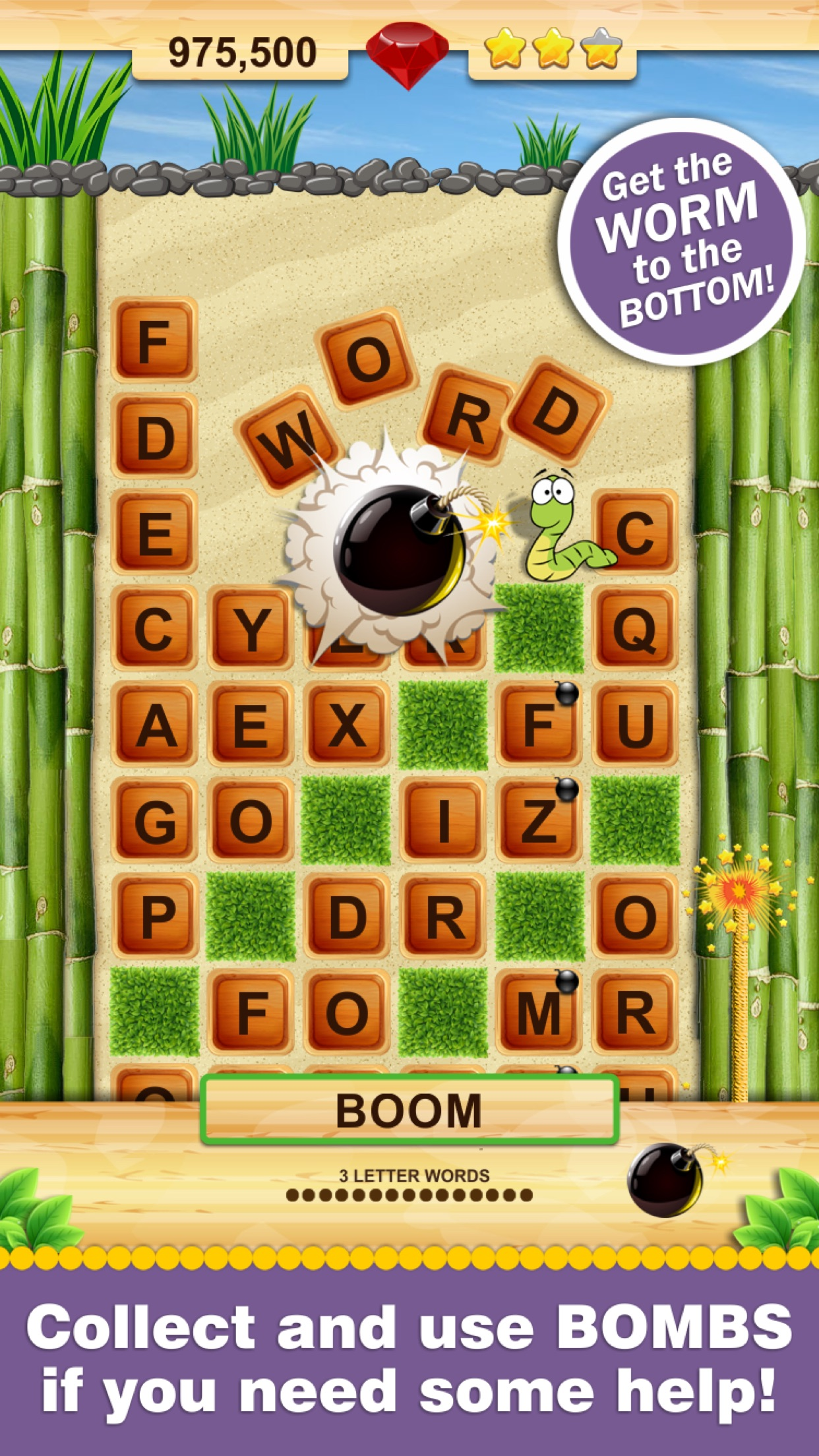 Word Wow - Spell words to get worm to the bottom! Screenshot