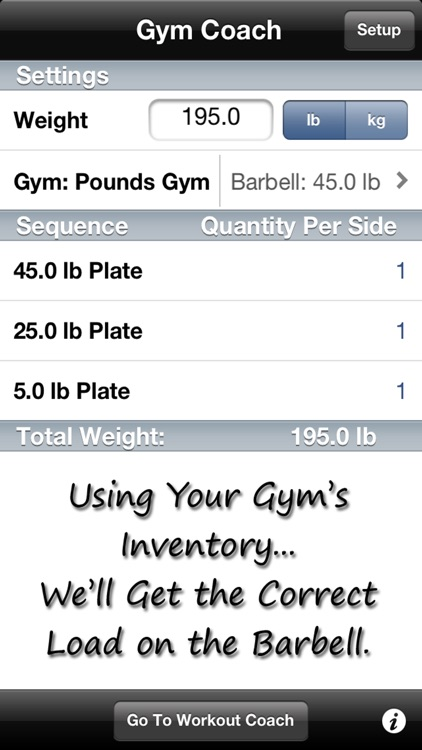 Gym Coach - Barbell Plate Loading Calculator