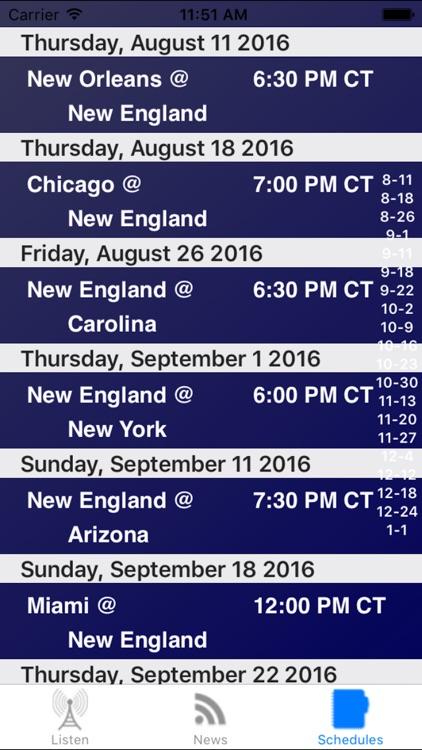 New England Football - Radio, Scores & Schedule screenshot-3