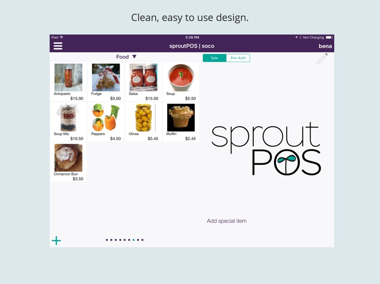 sproutPOS Mobile Point Of Sale for iPad