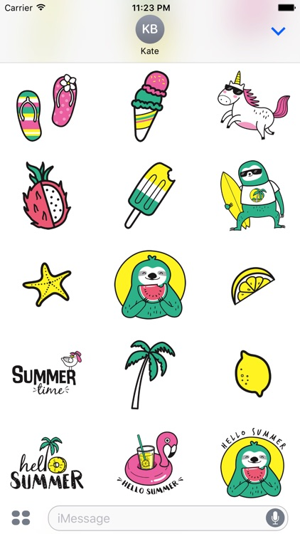 Adorable Summer Party Cat & Unicorn Stickers screenshot-3