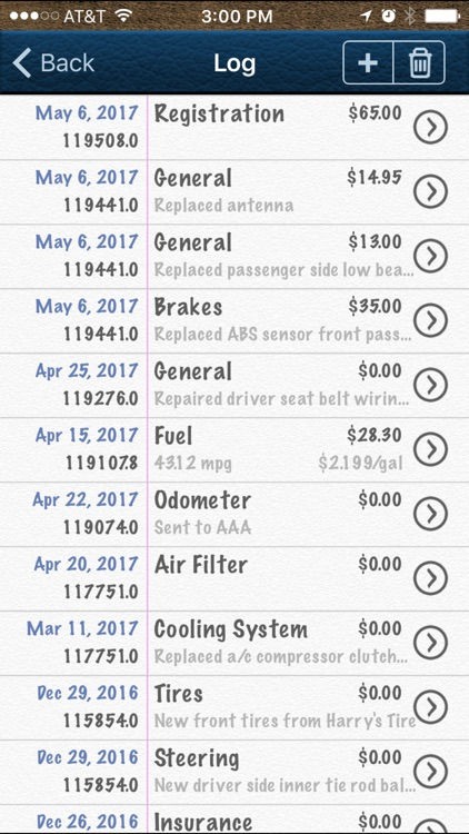 Vehicle Logbook & MPG