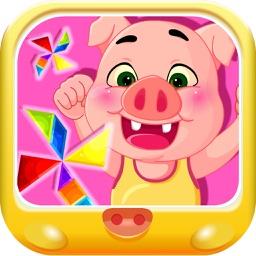 粉红小猪学形状拼图