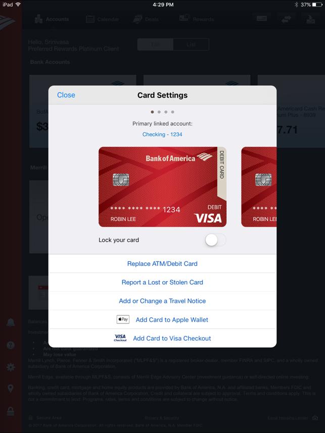 Travel Bank Of America Debit Card