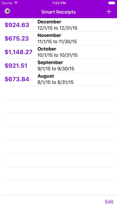 TSI Receipts Screenshot