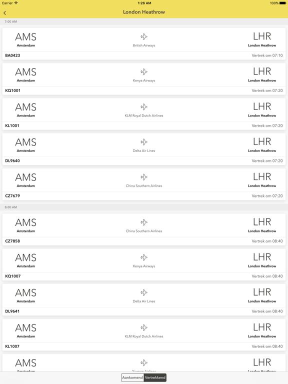 Schiphol - Realtime vluchtinformatie iPad app afbeelding 4