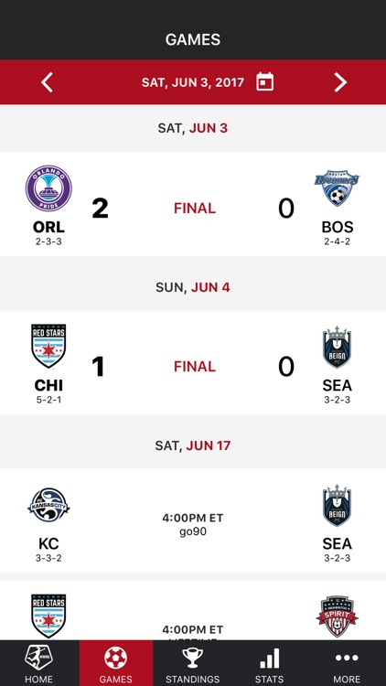 NWSL - National Women's Soccer League Official App