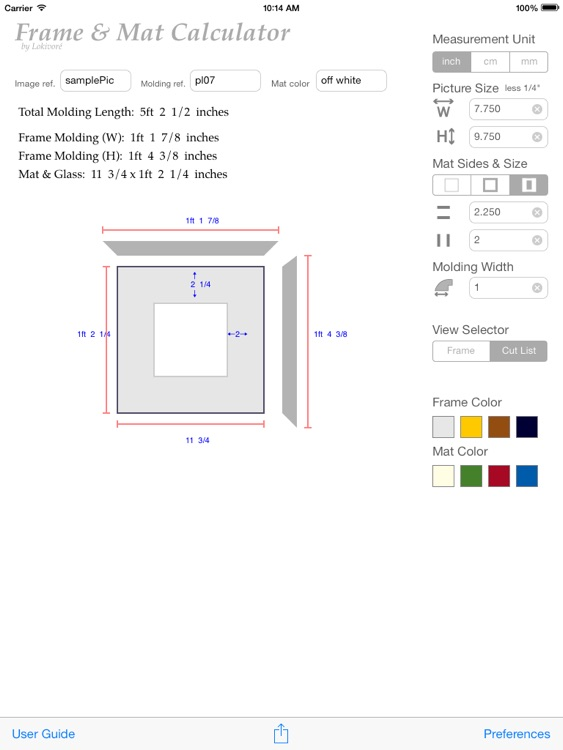 Picture Frame Calculator by Paul Robbins